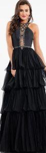 Terani Black ruffle illusion jeweled 12 dress gown